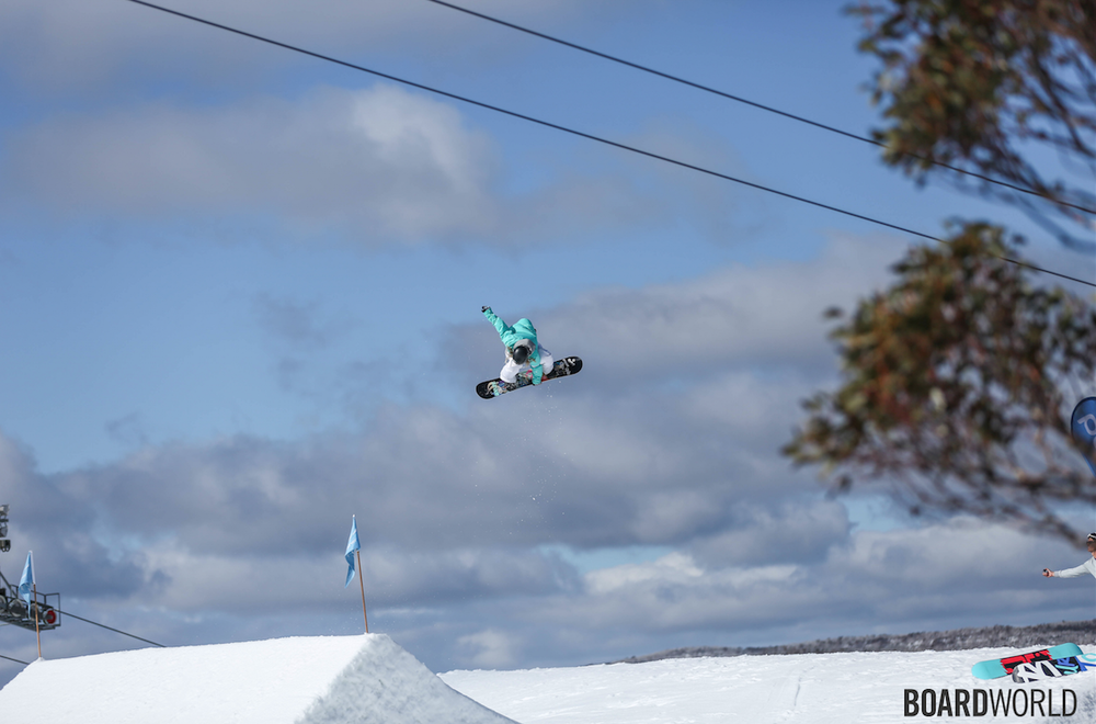 I won best trick at the Mile High World Snowboard Tour contest with a fs 720.   Photo by @Boardworld