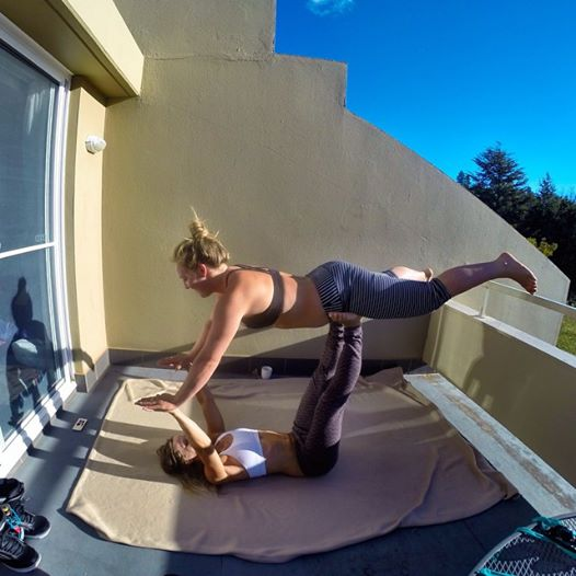 A little Apre snowboarding yoga session with Jamie on the balcony. Yoga helps me recover from a long day on the mountain & prepare me for a new.