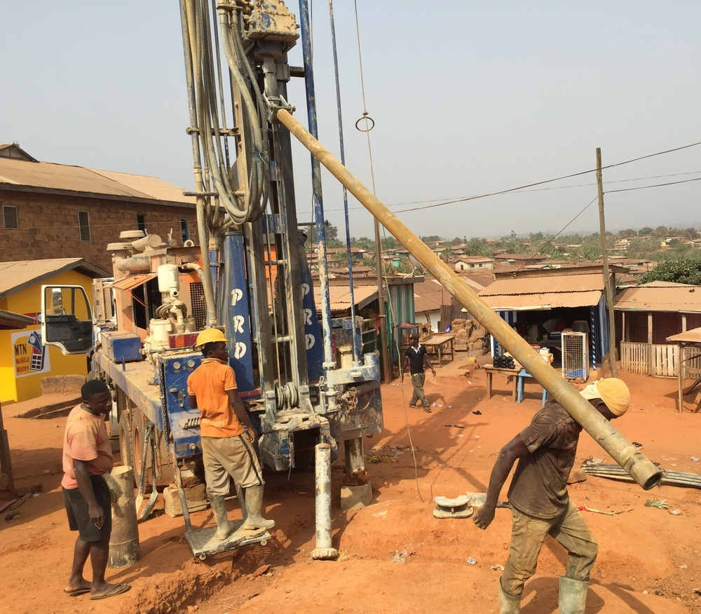 The drilling rig being set up