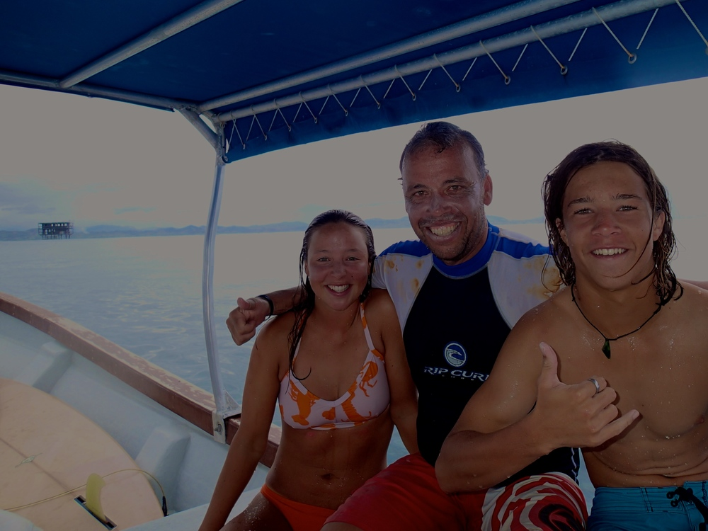 Bella, Nick and me at Cloudbreak, Fiji