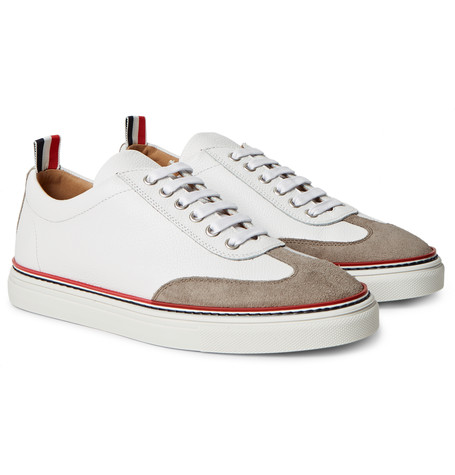 Suede-Trimmed Full-Grain Leather Sneakers.jpg