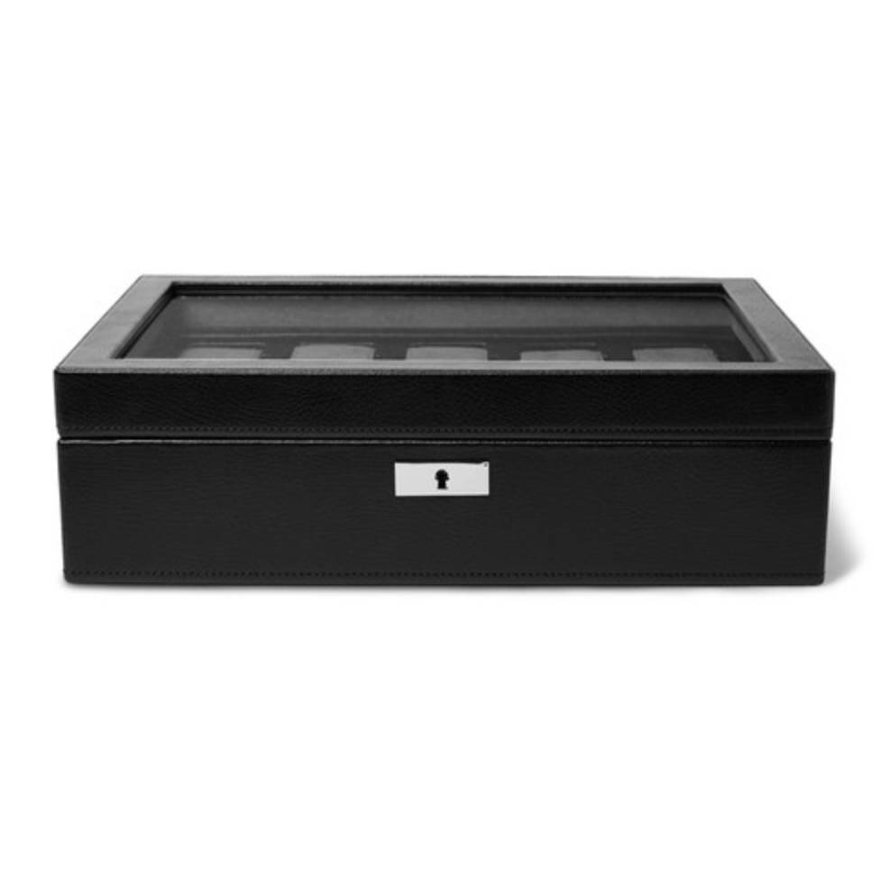 WOLF - Howard 7-Piece Leather Watch Box - Black