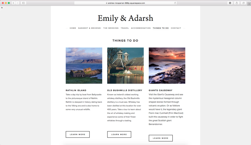 Emily & Adarsh - Things to do page