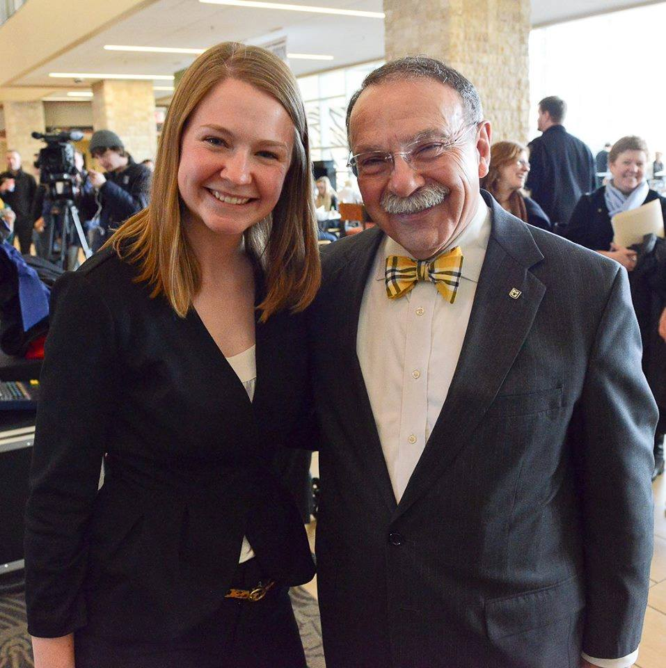 Erin Ehlers, VP Logistics, and Chancellor Loftin at the Gift Announcement.