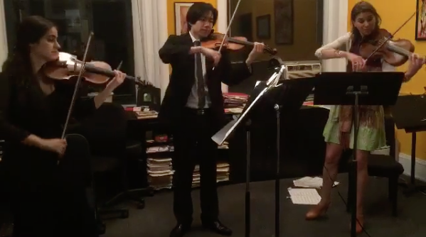 Informal violin and viola performance at our Open Studio Salon