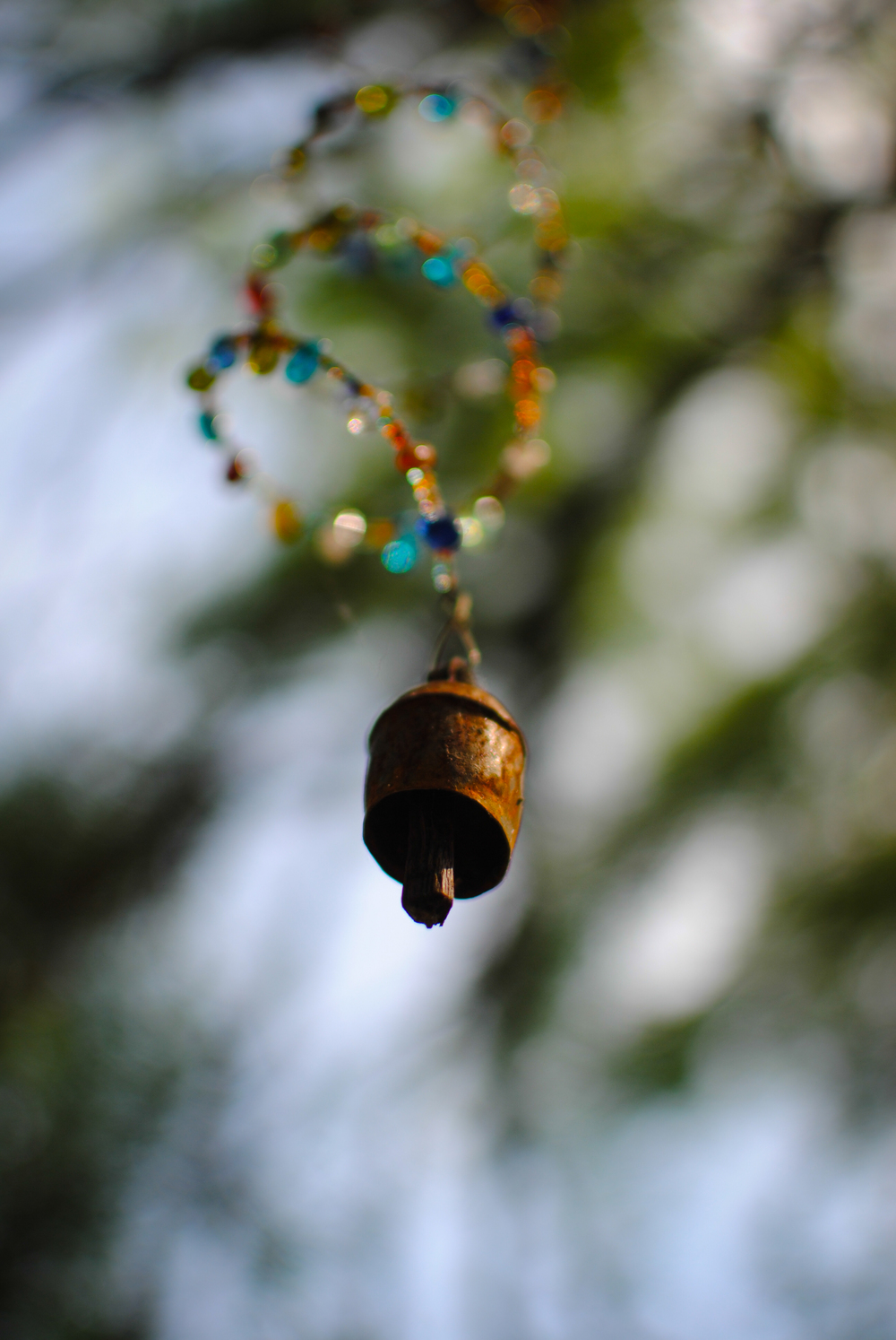 Spiral wind chime hangs quietly in the tree. .