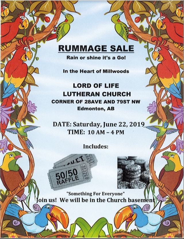 Join us for our Rummage Sale! — Lord of Life Lutheran Church Edmonton