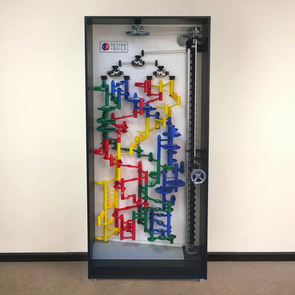 """LR Design+Build's Marble Toy Machine (84"""" x 38"""" x 13"""")"""