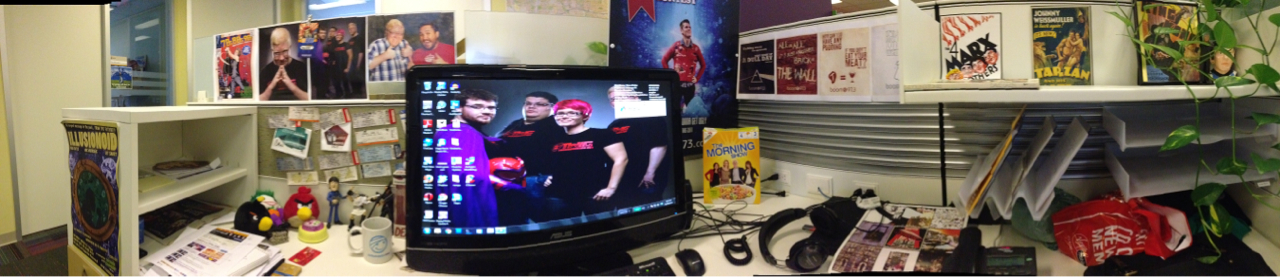Quick Panorama of my office at work. Doesn't show everything but I like it! (Taken on my iPhone 5)