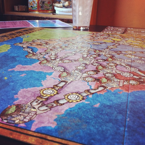 Playing Power Grid with @mrecock @mikelaidman @laura_raptor and @mhee12 (Taken with  Instagram  at Snakes & Lattes)