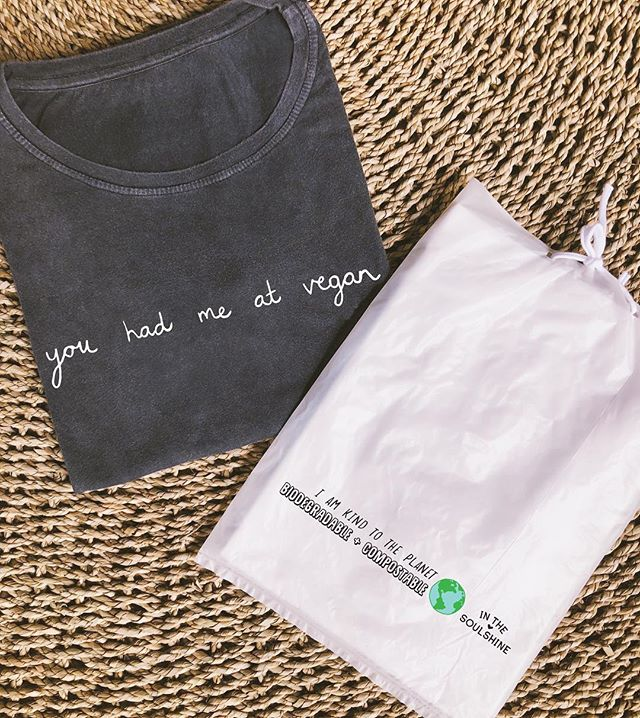 We package our tee's in biodegradable + compostable bags made from cassava 🌎♻️🌱 #plasticfree