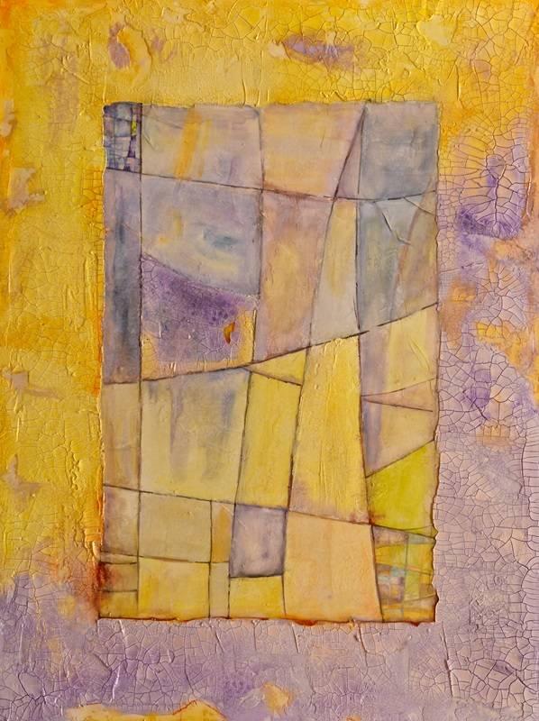 Violet Faceted Panes Studded With Fragments of Citrine-Rimmed Bottles