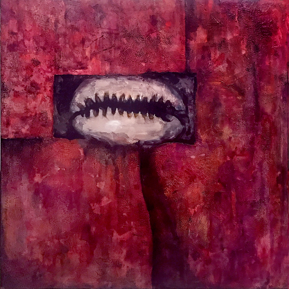 The Eye of Elegguá , 2017. Oil, watercolor, acrylic, plaster and lacquer on canvas, 72 x 72 inches