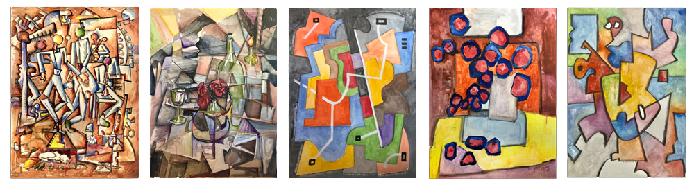 Five paintings from the Reassignments series in their original state, from left to right: Varvara Stepanova, Alice Bailly,   Académie Moderne, Margaret Mellis, The Ab-eXX Movement     Scroll down to see higher-resolution images of these five paintings in their final state.