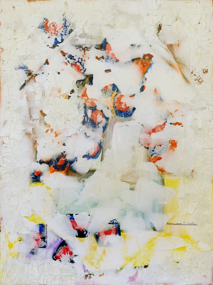 Margaret Mellis (1914-2009)   2018  Watercolor, oil, acrylic and plaster on canvas  36 x 48 inches