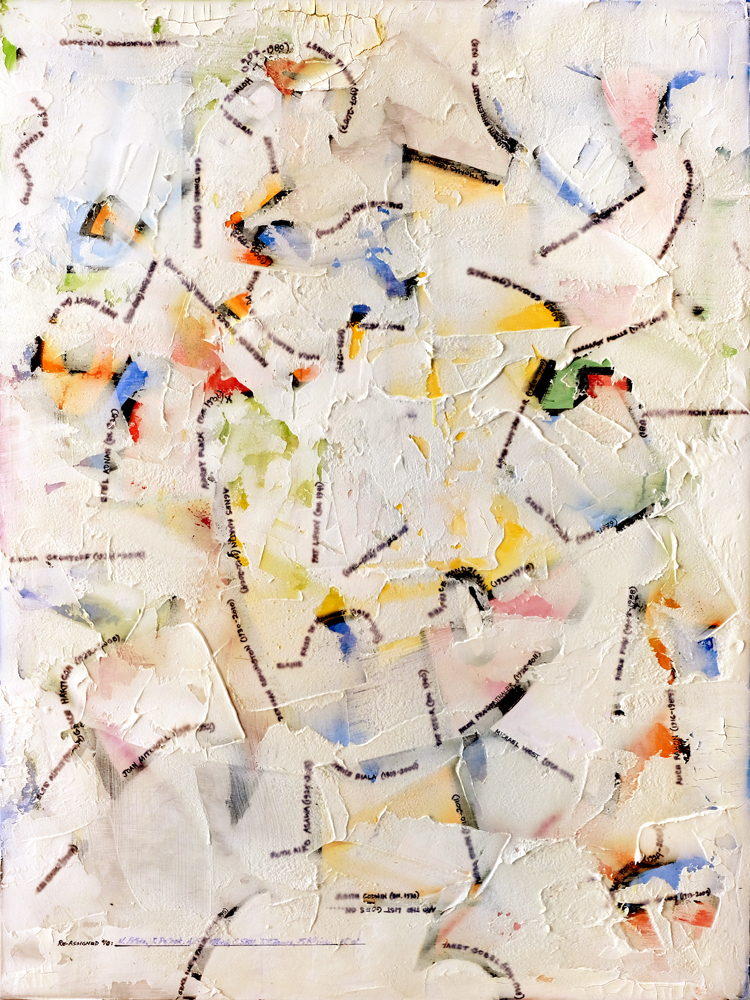 The Ab-eXX Movement:Early Period (1938-1946)     2018  Watercolor, oil, acrylic and plaster on canvas  36 x 48 inches