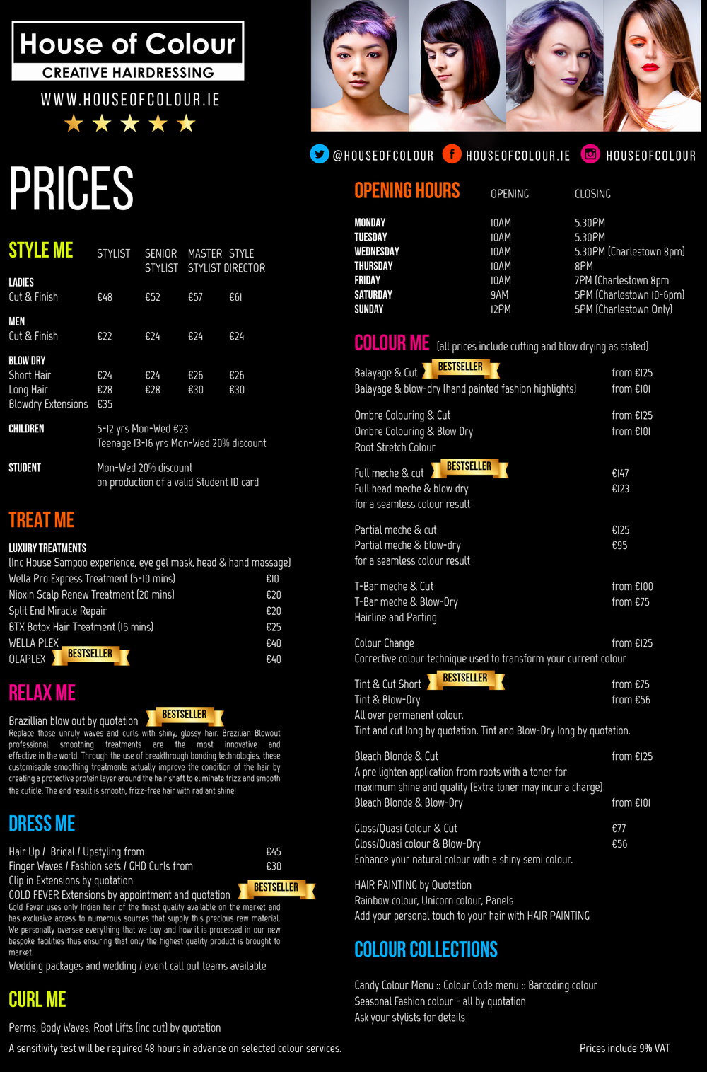 Price List — House of Colour