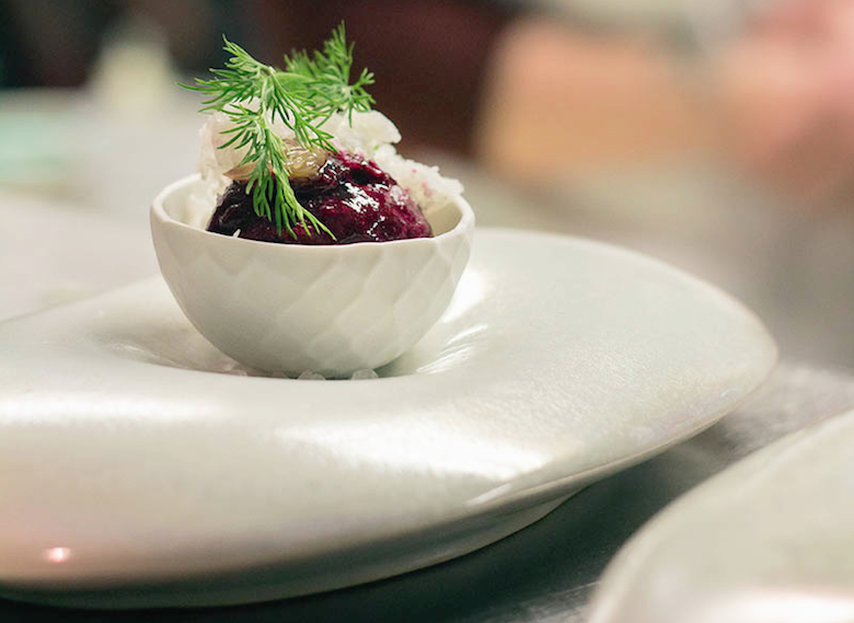 A dish for beet sorbet made by ceramicist Nick Moen. Credit: Anthony Harden of Alt Media Pros