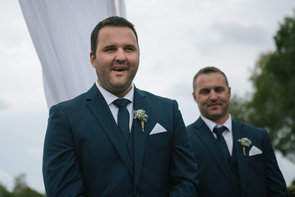 Brisbane wedding photographer - Grooms Reaction