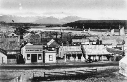Hokitika, just down the road from Greymouth in the 1870s.