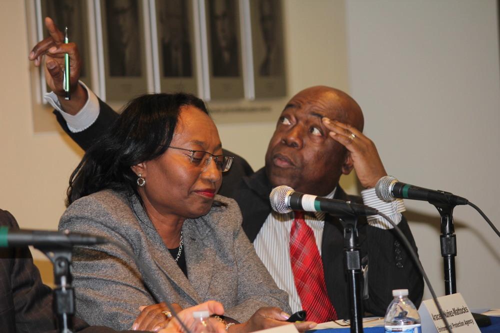 Presentation by SUDECC on Garifuna heritage at Panel Discussion on World Bank Climate Change Safeguards, American University, Washington. March 3, 2015.