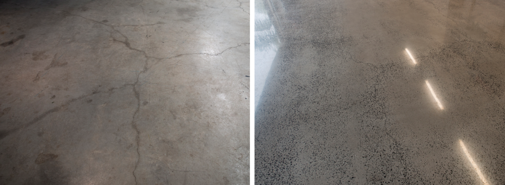 Left to right: before and after polishing concrete.
