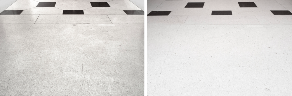 Left to right: limestone floor before and after, cleaning and polishing.