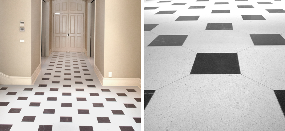 Left : example of cleaned limestone floor, Right: example of cleaned limestone tiles