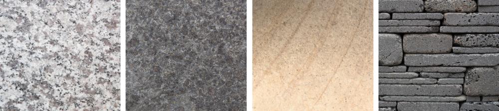 Left to right: white granite, grey granite, sandstone and bluestone