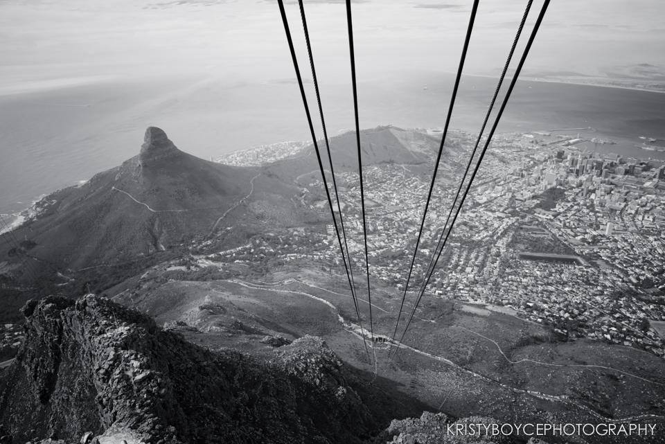 View from the Aerial Cableway, Table Mountain, SA.