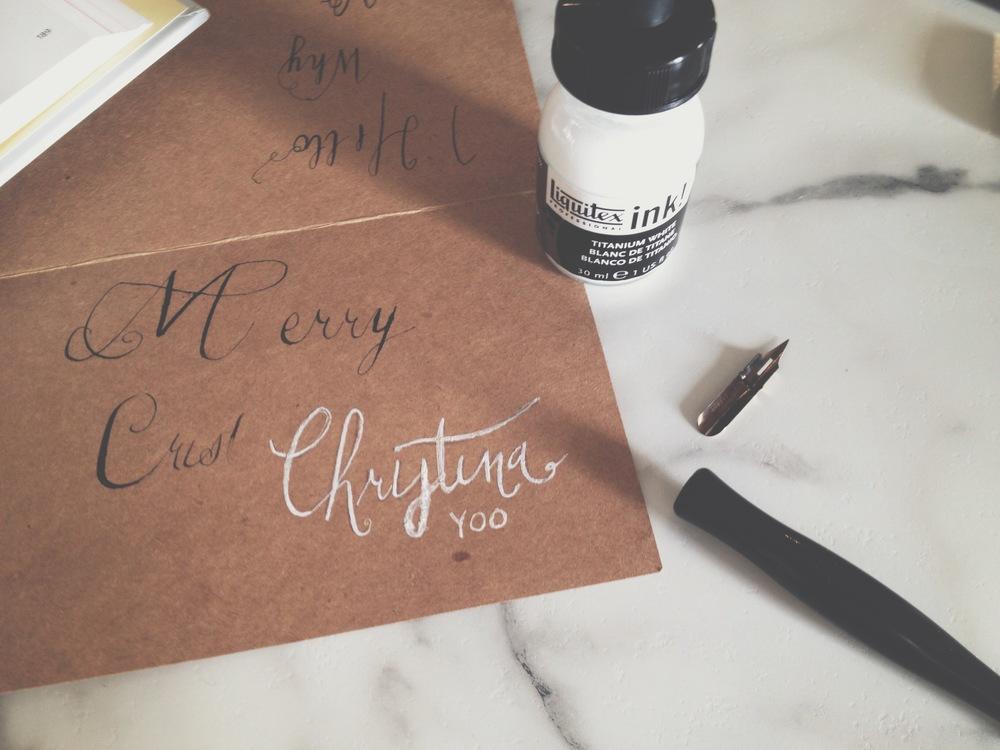 Liquitex ink on brown kraft paper.  December 2014