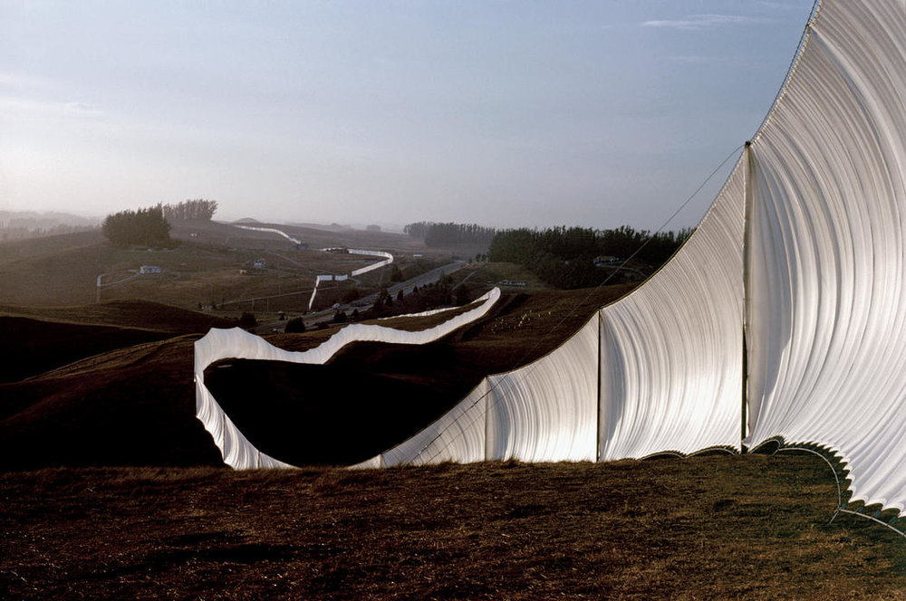 CHRISTO & JEANNE-CLAUDE   Running Fence  (1972-76)  Sonoma and Marin Counties, Calif.