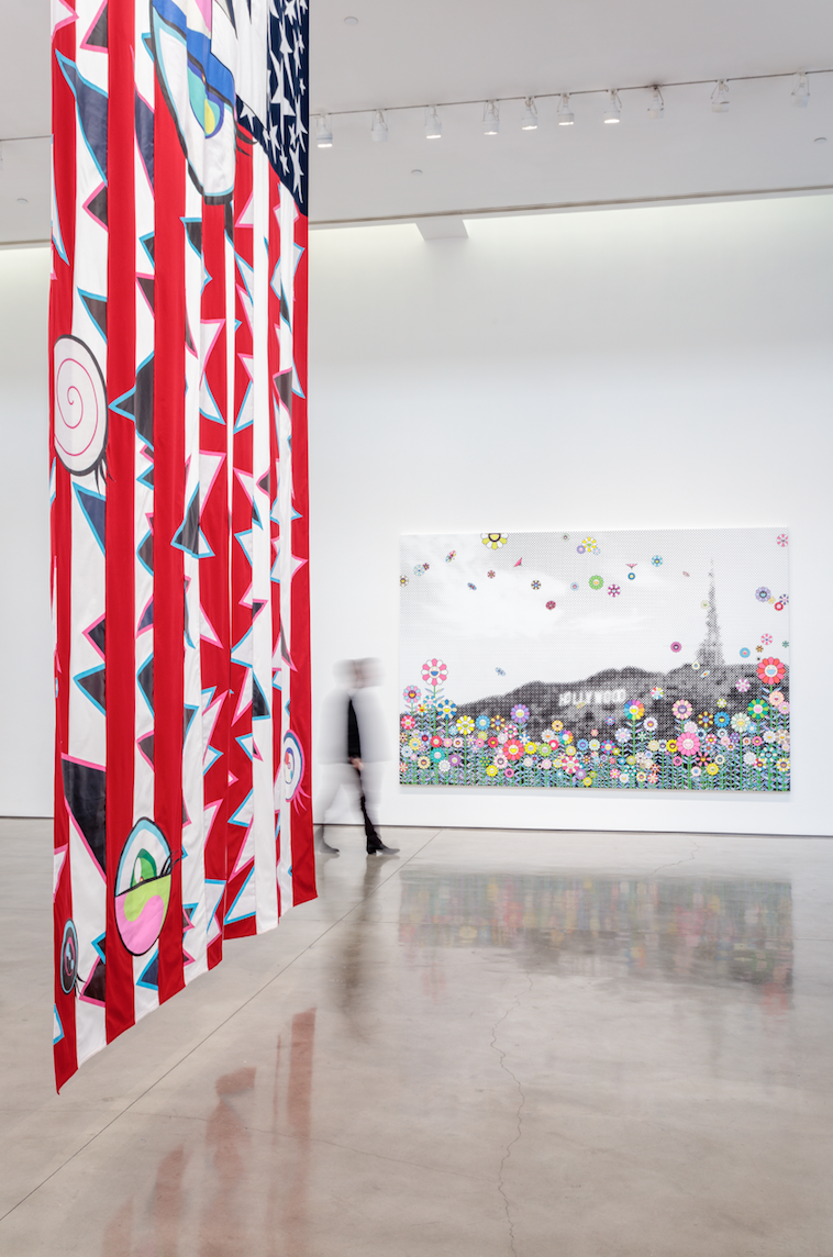 "TAKASHI MURAKAMI & VIRGIL ABLOH    ""AMERICA TOO"", Installation View , 2018  Artworks © Virgil Abloh and © Takashi Murakami  Photo: Joshua White – JWPictures.com  Courtesy Gagosian"