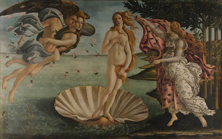 The Birth of Venus (1483 - 1485). Sandro Botticelli.Uffizi Gallery. Técnica: Temple sobre lienzo