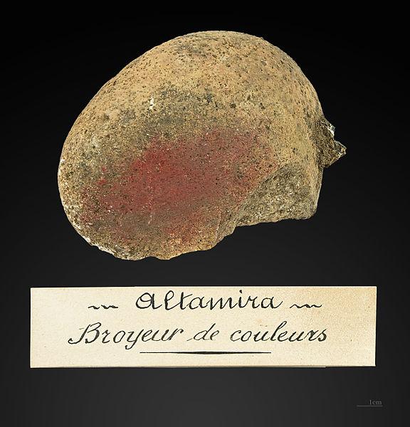 Molino para el oligisto del estrato lMagdaleniense inferior cantábrico(15 000 antes del presente) de lacueva de Altamira. Prosprección de Edouard Harlé en 1881.Museum of Toulouse