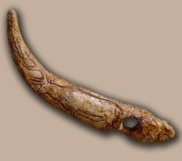Baston perforado del nivel magdaleniense superior de la Cueva del Castillo (Puente Viesgo, Santander, España). Ha sido adornada con el grabado de un ciervo.