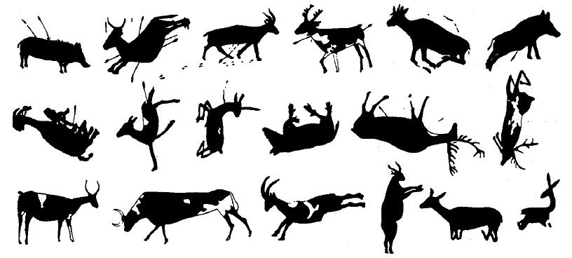 Distintas posiciones de los zoomorfos.
