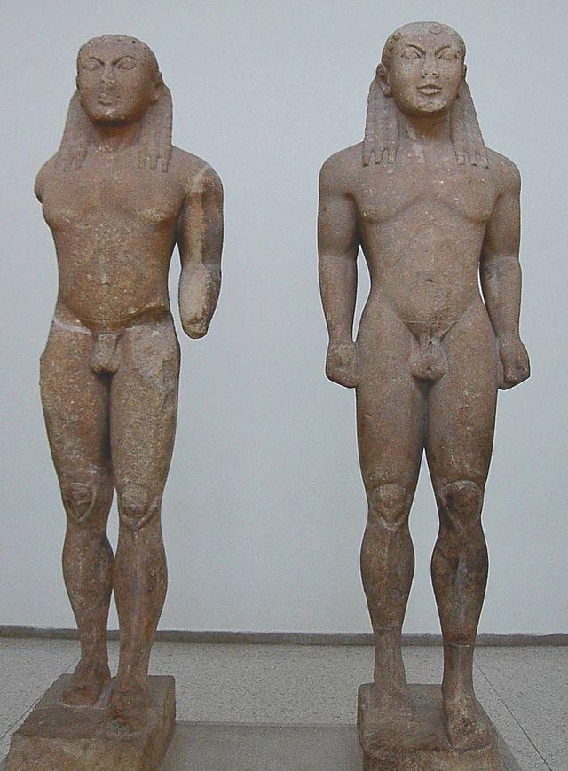 Cleobis y Bitón.El grupo escultórico hallado en Delfos.