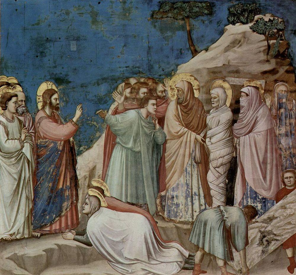 Resurrección de Lázaro. Giotto, 1304-1306 . Capilla de los ScrovegnidePadua