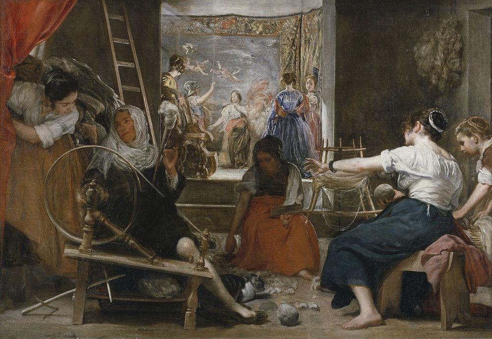 La fábula de Aracne (Las hilanderas).  Diego Velázquez,1657. Museo del Prado,Madrid.