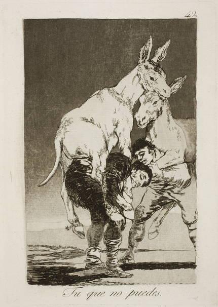 Tu que no puedes. Francisco Goya Caprichos, nº 42, (1797-99). Museo del Prado.