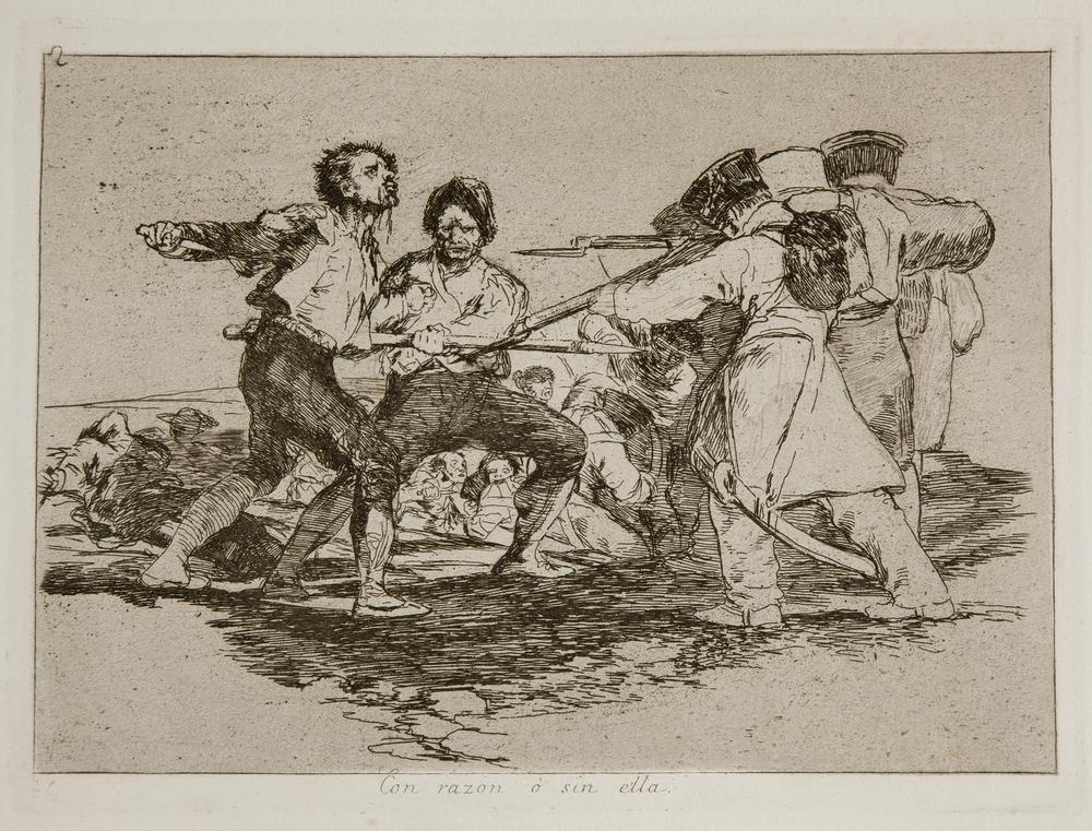 Con razón o sin ella. Francisco Goya . Desastres de la guerra,nº 2, (1810-14). Museo del Prado.