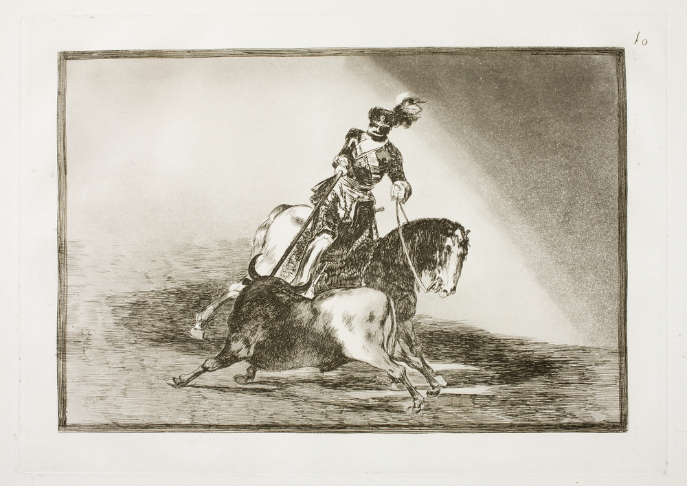 Carlos V lanceando un toro en la plaza de Valladolid. Francisco Goya . Tauromaquia,nº 10, (1816). Museo del Prado.