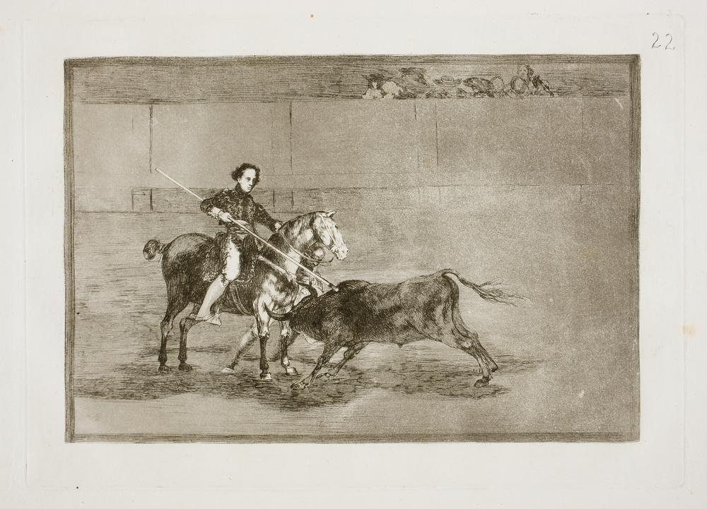 Valor varonil de la célebre Pajuelera en la de Zaragoza. Francisco Goya . Tauromaquia,nº 10, (1816). Museo del Prado.
