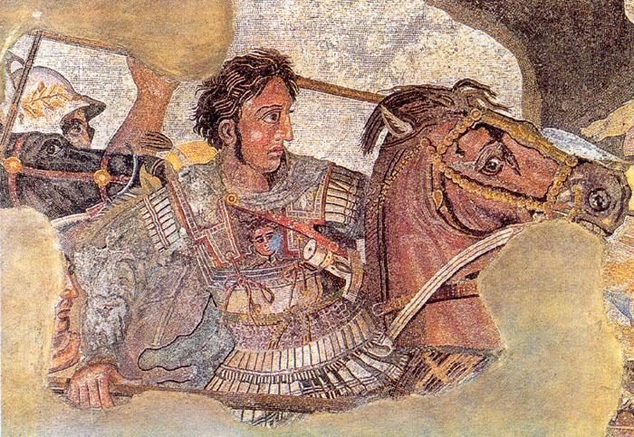 Mosaico de Alejandro Magno, que muestra a Alejandro Magno en su caballoBucéfalo.