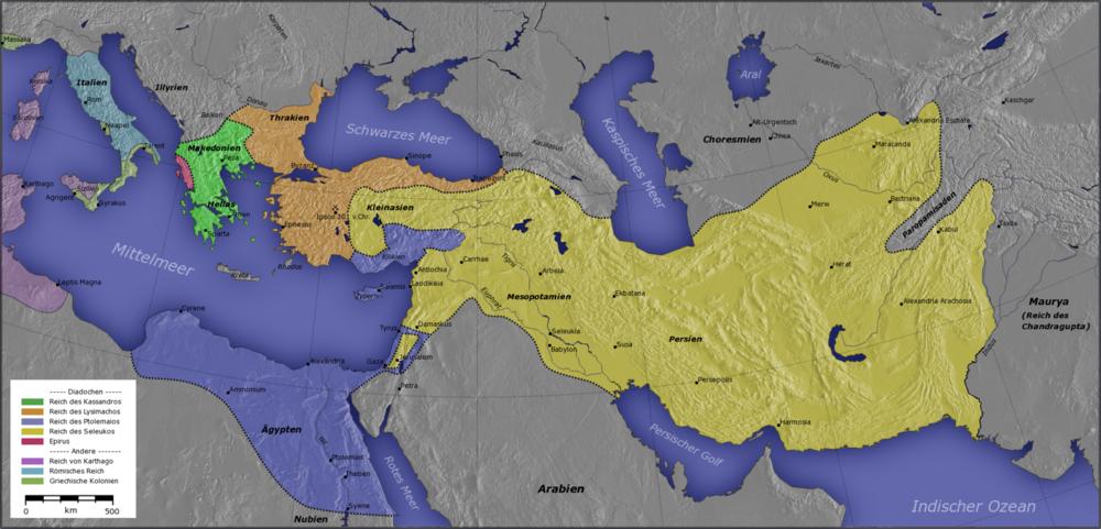 Los mayores dominios helenísticos: elReino Ptolemaico(azul oscuro), elImperio seléucida(amarillo), Macedonia (verde) y Epiro (rosa).