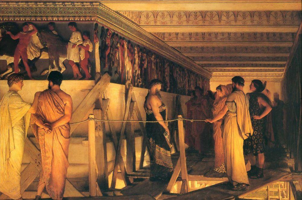 Fidias mostrando el friso del Partenón a Pericles, Aspasia, Alcibíades y amigos, cuadro deLawrence Alma-Tadema(1868), Birmingham Museum & Art Gallery.
