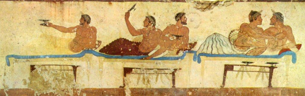 Fresco que representa unsimpósion, en laTumba del nadador. Hacia 480a.C. Los concurrentes, sin abandonar su posición reclinada, se dedican al juego delkótabos,consistente en acertar a un blanco lanzando vino con elkílix.