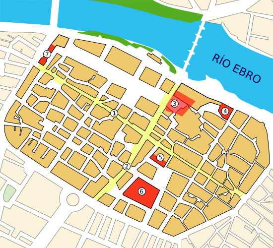 Plano romano de Caesaraugusta, encuadrado en laZaragozaactual. Puede verse el decumanus  maximus(1), el cardus  maximus(2),  el   foro  de Caesaraugusta (3),  el puerto fluvial  (4),  los baños públicos  (5),  el teatro  (6) y  la muralla  (7).