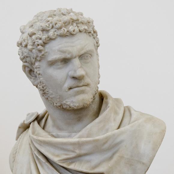 Busto del emperador Caracalla procedente de las termas. Museo arqueológico de Napoles.